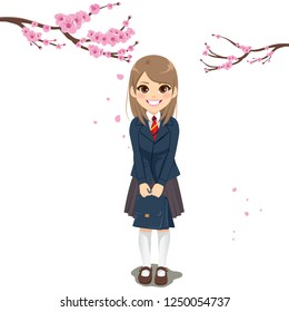Beautiful young uniform student girl with sakura cherry tree on background celebrating new school year