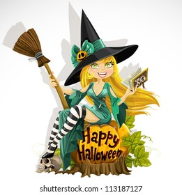 Beautiful young witch with a book and broom sitting on a pumpkin . Halloween
