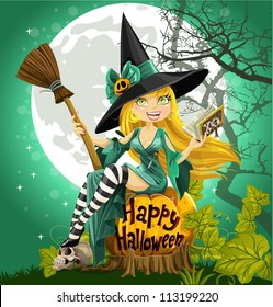 Beautiful young witch with a book and broom sitting on a Halloween background