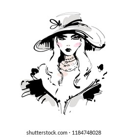 Beautiful young woman in big hat black and white ink vector portrait. Girl model hand drawn fashion illustration.
