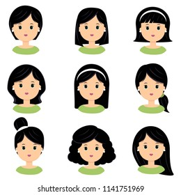 Beautiful young woman with black hair. Different hairstyle and haircuts for salon vector icon set, isolated on white background. Flat style.