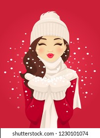 Beautiful young woman blowing snowflakes from her hands on red background vector illustration