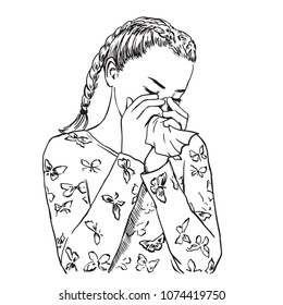 Beautiful young woman with braids blows her nose in a handkerchief because of spring allergy or sick, or crying. Vector sketch illustration