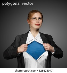 Beautiful young woman in business suit and glasses with superhero concept on grey background. Polygonal vector. All layers are in different groups: face, glasses, suit and etc.