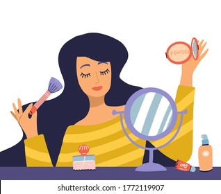 Beautiful young woman character doing make up. Table with makeup, cosmetics and wound mirror. Girl holding brush and powder. Vector flat cartoon illustration in trendy style.