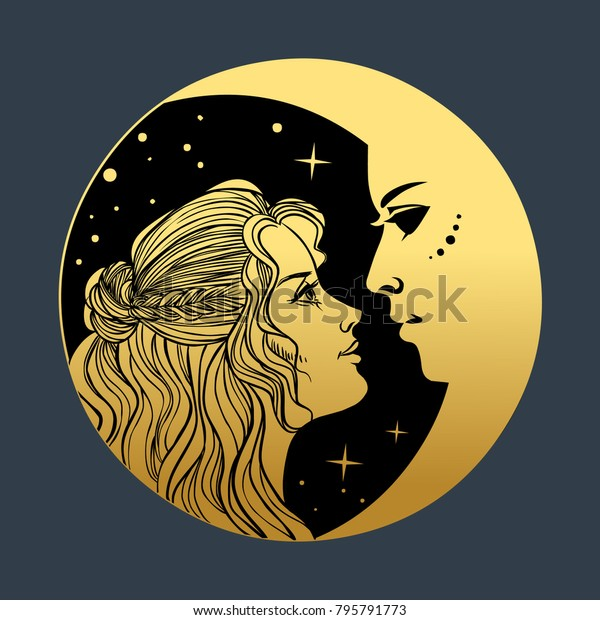 beautiful young woman crescent moon vector stock vector royalty free 795791773 https www shutterstock com image vector beautiful young woman crescent moon vector 795791773