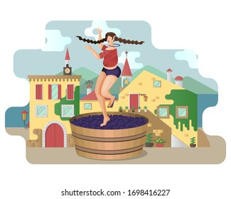 Beautiful young woman is crushing grapes with her feet while dancing in large wooden vat on the background of Italy village. Craft traditional wine making. Flat vector cartoon travel illustration