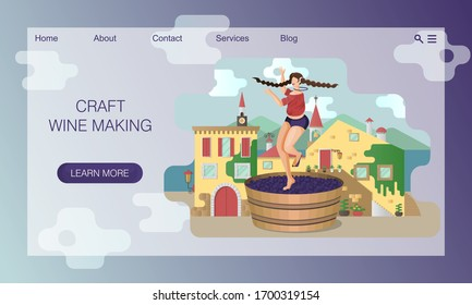 Beautiful young woman is crushing grapes with her feet while dancing in large wooden vat on the background of Italy village. Craft traditional wine making.  Vector website landing page design template