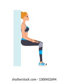 Beautiful young woman doing wall sit exercise. Vector illustration