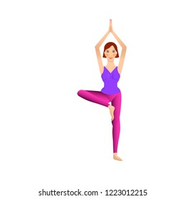 beautiful young woman is doing yoga, standing in vrikshasana tree pose, isolated on white background