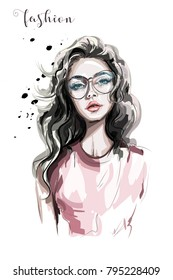 Beautiful young woman in eyeglasses. Fashion woman. Stylish girl with long hair. Sketch.