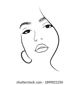 Beautiful young woman face black and white drawing sketch. Abstract girl model portrait fashion illustration for modern print design, vector, line art.