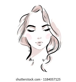 Beautiful young woman face with closed eyes vector portrait. Fashion girl drawing sketch on white background.
