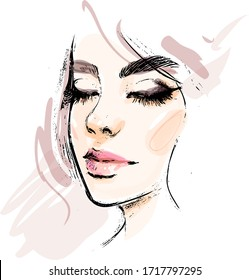 Beautiful young woman face with closed eyes makeup vector drawing sketch. Fashion portrait illustration.