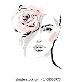 Beautiful young woman face makeup vector fashion illustration. Girl head with pink rose flower. Black and white drawing sketch. Beauty concept design.