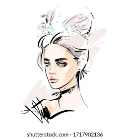 Beautiful young woman face makeup vector drawing sketch. Fashion portrait illustration.