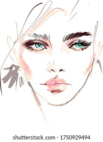 Beautiful young woman face makeup watercolor drawing sketch. Hand drawn modern fashion illustration of a girl model art portrait. Beauty background for cosmetics banner design.