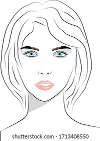 Beautiful young woman face with nude make-up hand drawn vector illustration. Graphic, sketch drawing.