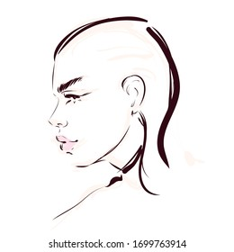 Beautiful young woman face profile silhouette vector drawing illustration. Ink line portrait.