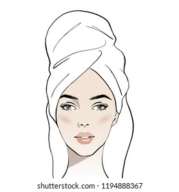 Beautiful young woman face with white towel on her head. Hand drawn beautiful woman portrait. Fashion woman with bath towel on her head. Sketch. Vector illustration. Spa beauty concept
