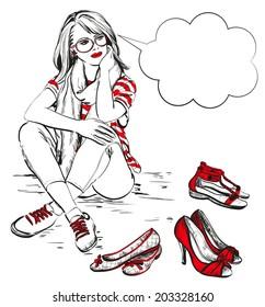 beautiful young woman with fashion shoes