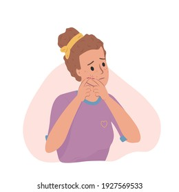 Beautiful young woman girl looking at mirror squeezing pimple at home. Teenager skin problems: acne, pimples, blackheads. Skincare and dermatology. Face mask, cream. Flat cartoon vector illustration.