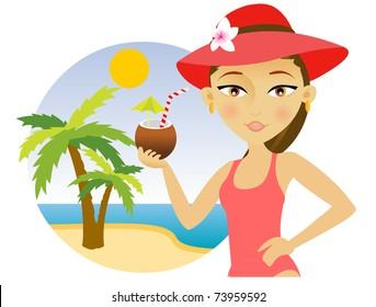 Beautiful young woman in a hat and bikini enjoying a cocktail