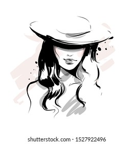 Beautiful young woman in hat covering her face black and white vector drawing sketch. Abstract girl model portrait fashion illustration for modern print design.