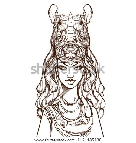 Beautiful Young Woman Headdress Form Rhinoceros Stock Vector