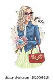Beautiful young woman holding a bouquet of flowers. Stylish lady in a denim jacket and sunglasses. Fashion model posing. Casual style. Hand drawn sketch. Vector illustration of fashion.