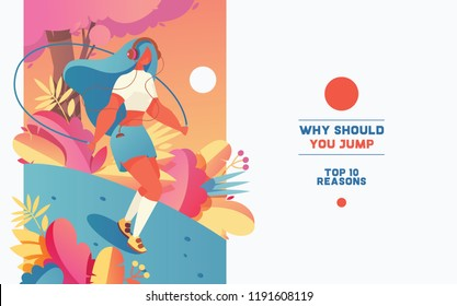 Beautiful young woman jumping with skipping rope. Bright flat workout sport illustration for bunner or poster with place for text. Lovely girl character exercising outdoors.