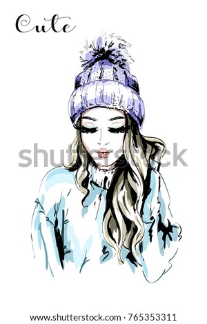 Beautiful Young Woman In Knitted Hat With Fur Pom Pom Hand Drawn Fashion Woman