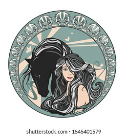 beautiful young woman with long gorgeous hair and horse inside round medallion - art nouveau style beauty portrait vector design