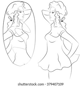 Beautiful young woman looking in the mirror, sketch vector in black and white