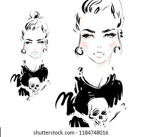 Beautiful young woman with messy bun in stylish modern t-shirt with skull print. Black and white ink vector portrait. Girl model hand drawn fashion illustration.