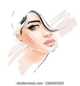 Beautiful young woman model face portrait. Glamour girl makeup fashion illustration. Stylish art sketch. Beauty and style vector drawing.
