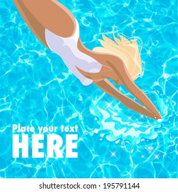 Beautiful young woman in one-piece white bathing suit diving in blue sparkling water. Place for text. EPS 10 Vector illustration.