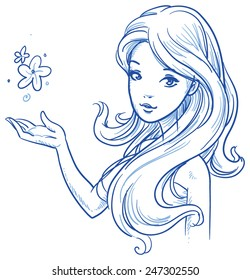 Beautiful, young woman with perfect hair. Hand drawn vector illustration