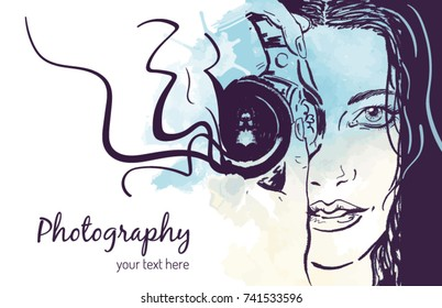 Beautiful young woman photographer holding a camera vector illustration. Background for a website or portfolio presentation.