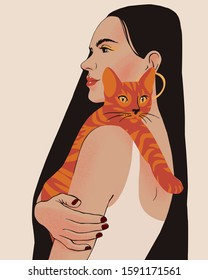 Beautiful young woman portrait holding a cat. Lady with long black hair isolated on pastel background.  Stylish girl with bright makeup. Happy pet owner.