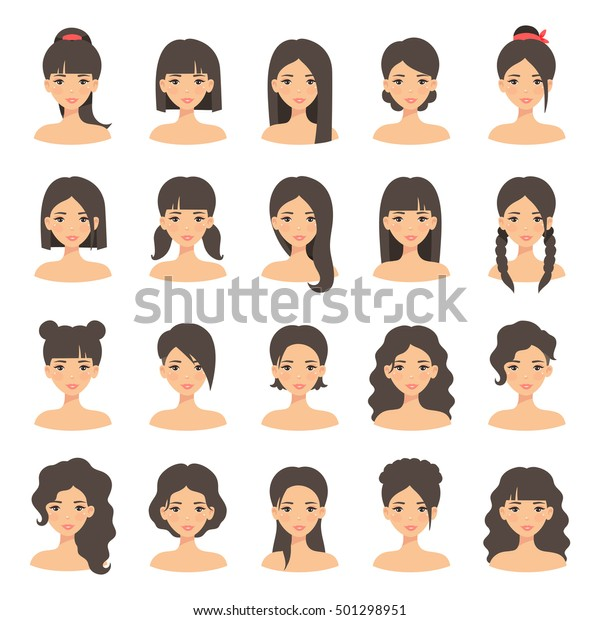 Beautiful young woman portrait modern fashion long hair, short hair, curly hair salon hairstyles and trendy haircut vector icon set isolated on white background.