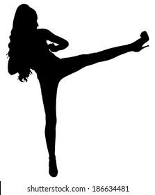 beautiful young woman practicing self defense, vector