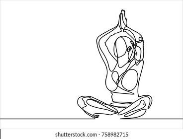 Beautiful young woman practicing yoga, meditating in lotus pose-continuous line drawing