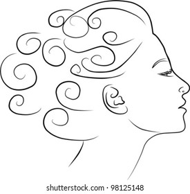 beautiful young woman profile, vector illustration