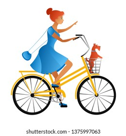 A beautiful young woman with red hair in a blue summer dress rides a yellow bicycle and carries a basket of a small bearded dog. Isolated on white background, flat style, vector illustration.