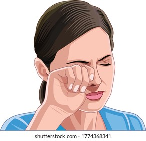 Beautiful young woman rubbing her eye with fingers, itching eyes