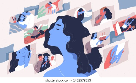 Beautiful young woman and scenes from her life. Concept of memories and thoughts, positive and negative traumatic experience, psychological trauma. Flat cartoon colorful vector illustration.