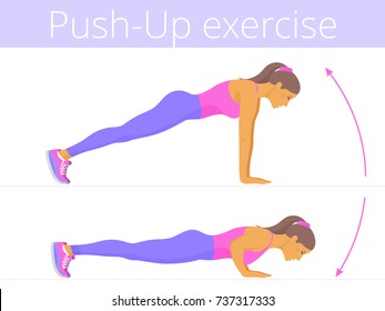 Beautiful young woman in the sportswear is doing the push-up exercise. Flat illustration of caucasian sporty girl training in push up. Vector active people set for sport, fitness design, infographic.