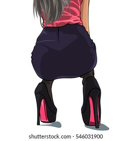 Beautiful young woman squatting on high heels. Vector illustration