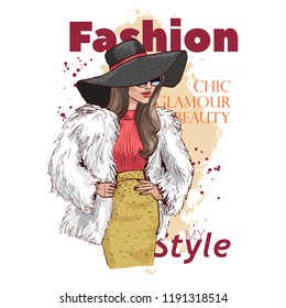 Beautiful young woman in stylish clothes, fur coat and hat. Fashion model posing. Trend clothing for winter. Pattern design for a magazine cover. Hand drawn sketch. Vector illustration.